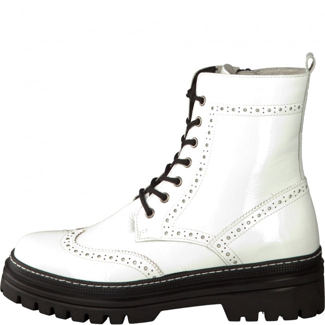 Patent Wing Tip Combat Boot - 91/WHT