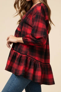 Plaid Babydoll Top - RED/BLACK