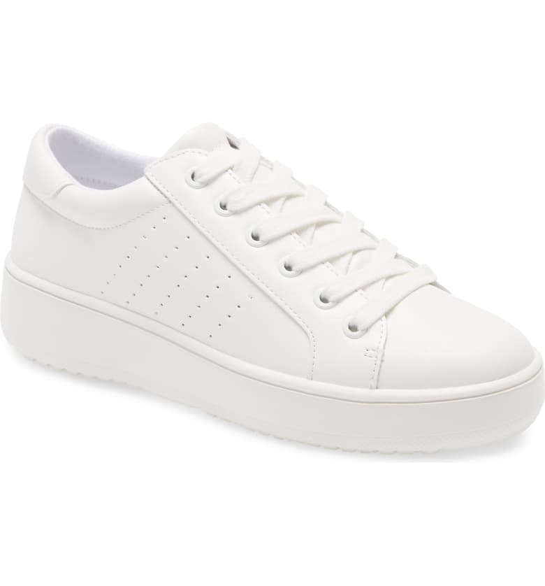 Plain Lace Up Sneaker - WHT