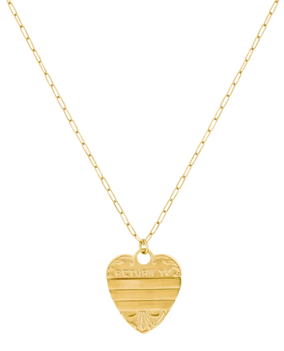 Return To Sender Vintage Heart Necklace - GOLD