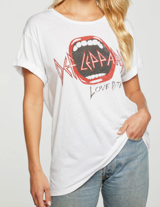 Rolled Short Sleeve Def Leppard Tee - WHITE