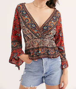 Rosalie Wrap Top - RED PRINT