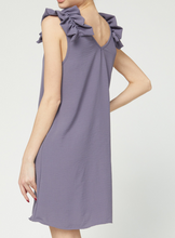 Load image into Gallery viewer, Ruffle Shoulder Dress - GREY