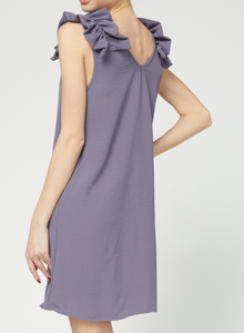 Ruffle Shoulder Dress - GREY