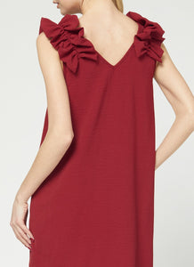 Ruffle Shoulder Dress - RUBY
