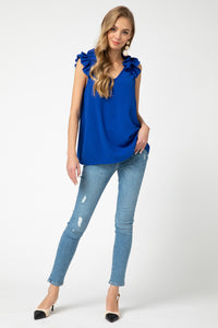 Ruffle Shoulder Tank - ROYAL BLUE