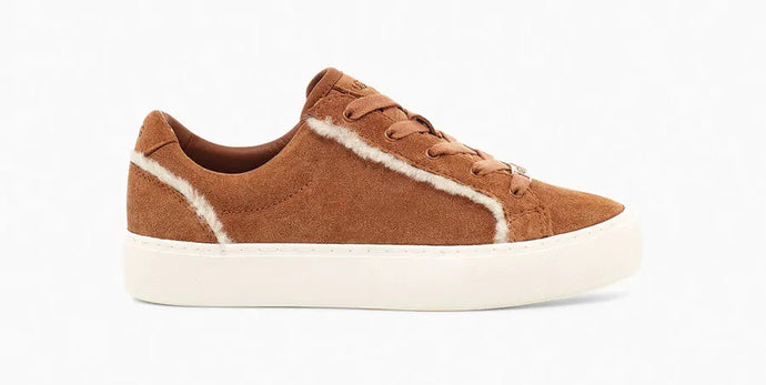 Shearling Trim Lace Up Sneaker - CHESTNUT