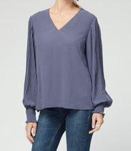 Load image into Gallery viewer, Sheer Sleeve Banded Cuff V Neck - CHARCOAL