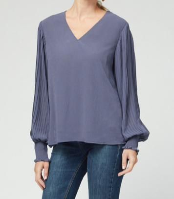 Sheer Sleeve Banded Cuff V Neck - CHARCOAL