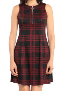 Sleeveless Fit & Flare Plaid Dress - BLK/RED