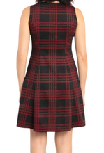 Load image into Gallery viewer, Sleeveless Fit & Flare Plaid Dress - BLK/RED