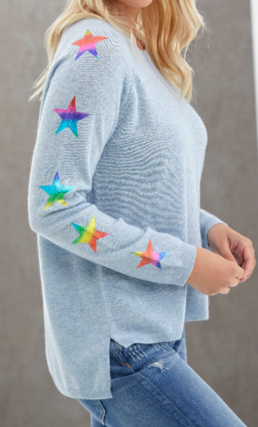 Star Sleeve Cashmere Sweater - SKY