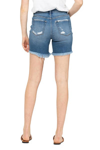 Super Hi Rise Fray Hem Shorts