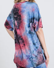 Load image into Gallery viewer, Tie Dye Short Sleeve V Neck Top