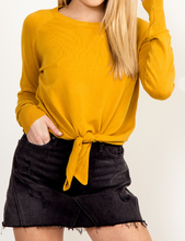 Load image into Gallery viewer, Tie Front Sweater - MUSTARD