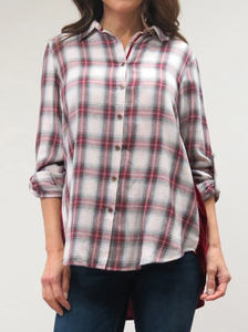 Velvet Back Plaid Front Shirt - RED PLD
