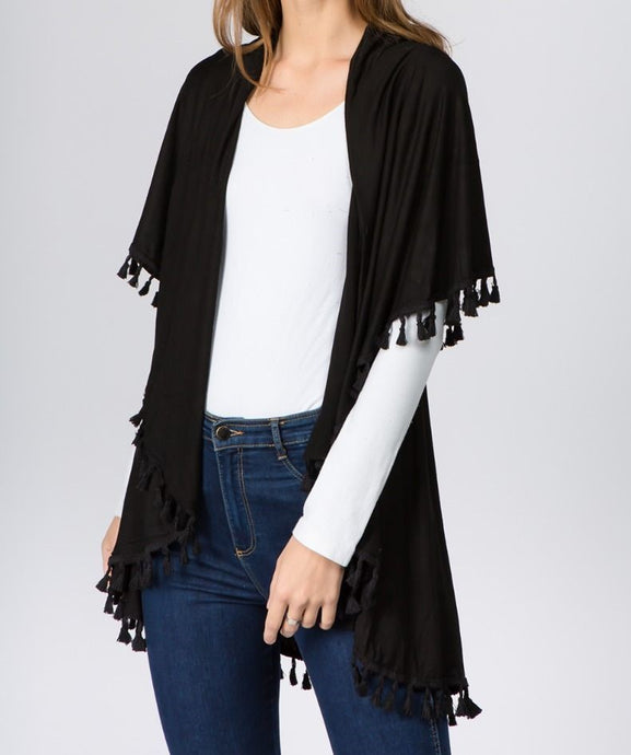 Vest with Tassels - BLACK