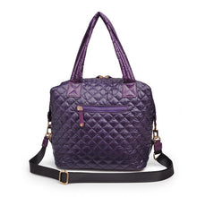 Load image into Gallery viewer, Wanderlust Quilted Nylon Tote - EGGPLANT