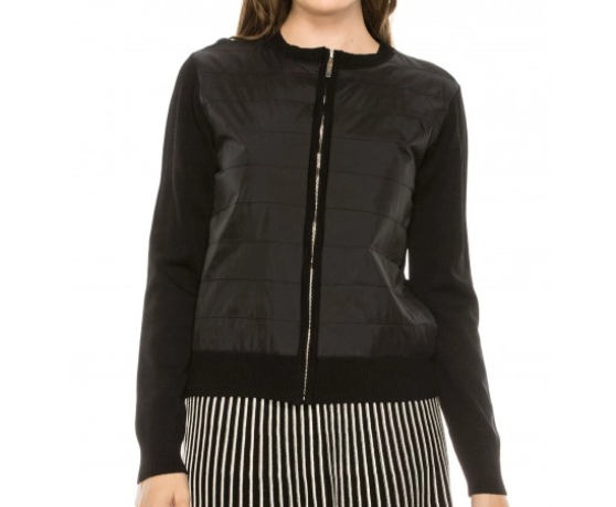 Zip Up Quilt Front Sweater Jacket - BLACK