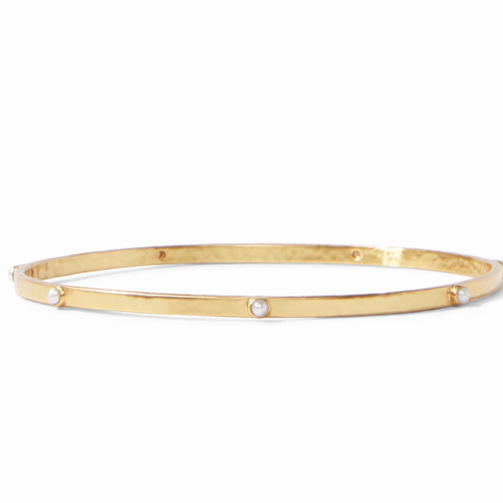 Crescent Bangle Gold Pearl Medium