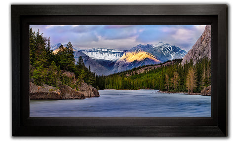 Framed Last Light photo from the Bow River banks in Banff Alberta - Framed photo