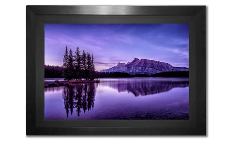 Refreshing Clarity - Framed photo of Two Jack Lake Alberta near Banff