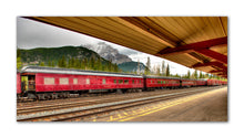 Load image into Gallery viewer, Take walk back into history with this photo of a historic old diner train car sitting at the Banff train station