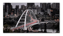 Load image into Gallery viewer, An architectural masterpiece of the Walterdale Bridge in Edmonton os the newest artistic infrastrucutre to be added to the Rivervalley - Printed on metal and ready to hang