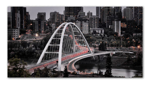 An architectural masterpiece of the Walterdale Bridge in Edmonton os the newest artistic infrastrucutre to be added to the Rivervalley - Printed on metal and ready to hang