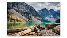 Load image into Gallery viewer, Moraine Lake Alberta peaceful day, a great photo for any wall Printed on Metal