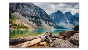 Moraine Lake Alberta peaceful day, a great photo for any wall Printed on Metal