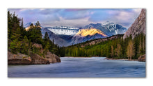 Load image into Gallery viewer, Bow lake in Banff Alerta printed on metal, ready to hang on your wall