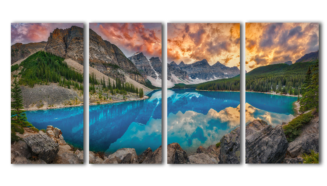 Massive photo split of Moraine Lake Alberta, perfect photo that captures an amazing sunset, with the clear blue water and the dense forest in the shadow of the towering valley of ten peaks mountains, Ready to hang on any wall
