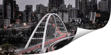 Load image into Gallery viewer, The new Walterdale bridge in Edmonton printed on metallic paper.