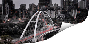 The new Walterdale bridge in Edmonton printed on metallic paper.
