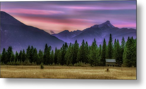 Nestled in the Canadian Rockies in the fall with golden fields, this amazing sunet is ready to hang on your wall