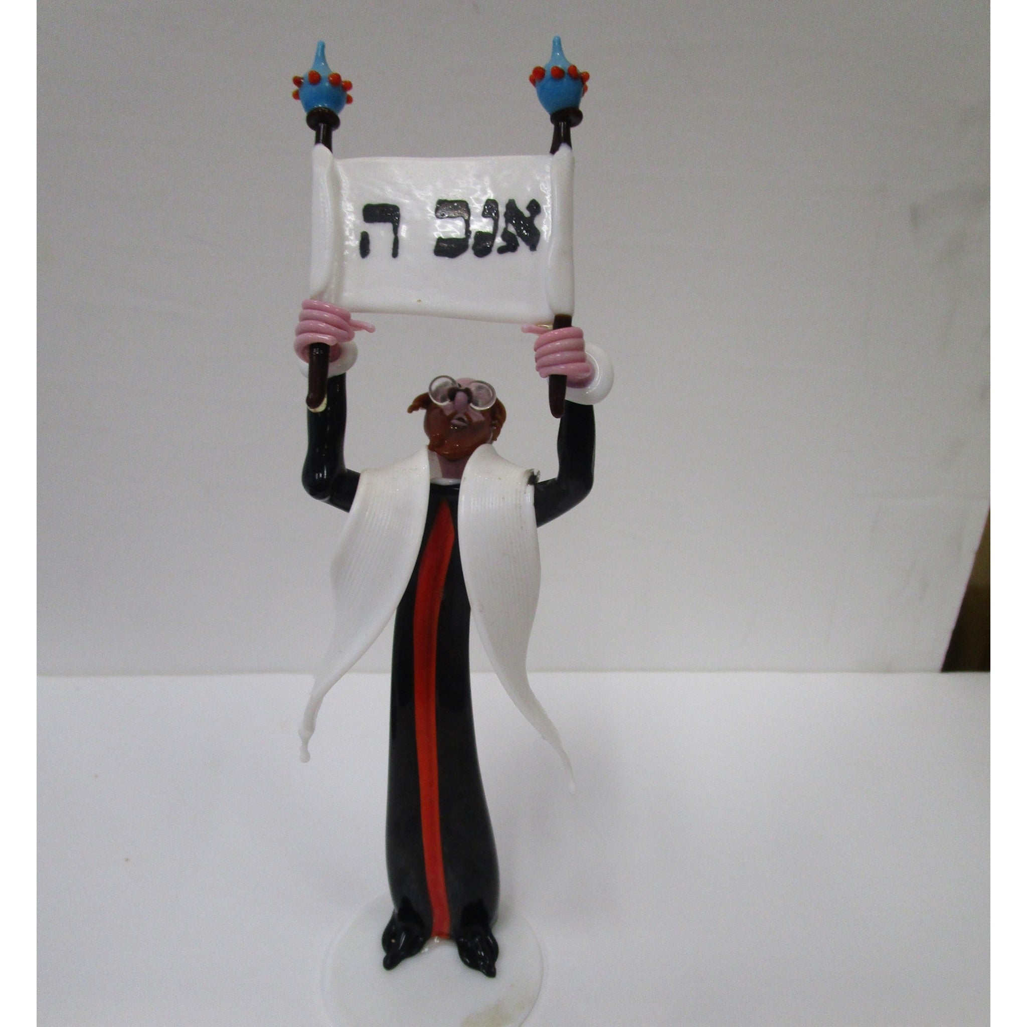 Gianni Toso Glass Figurine Rabbi with Open Scroll