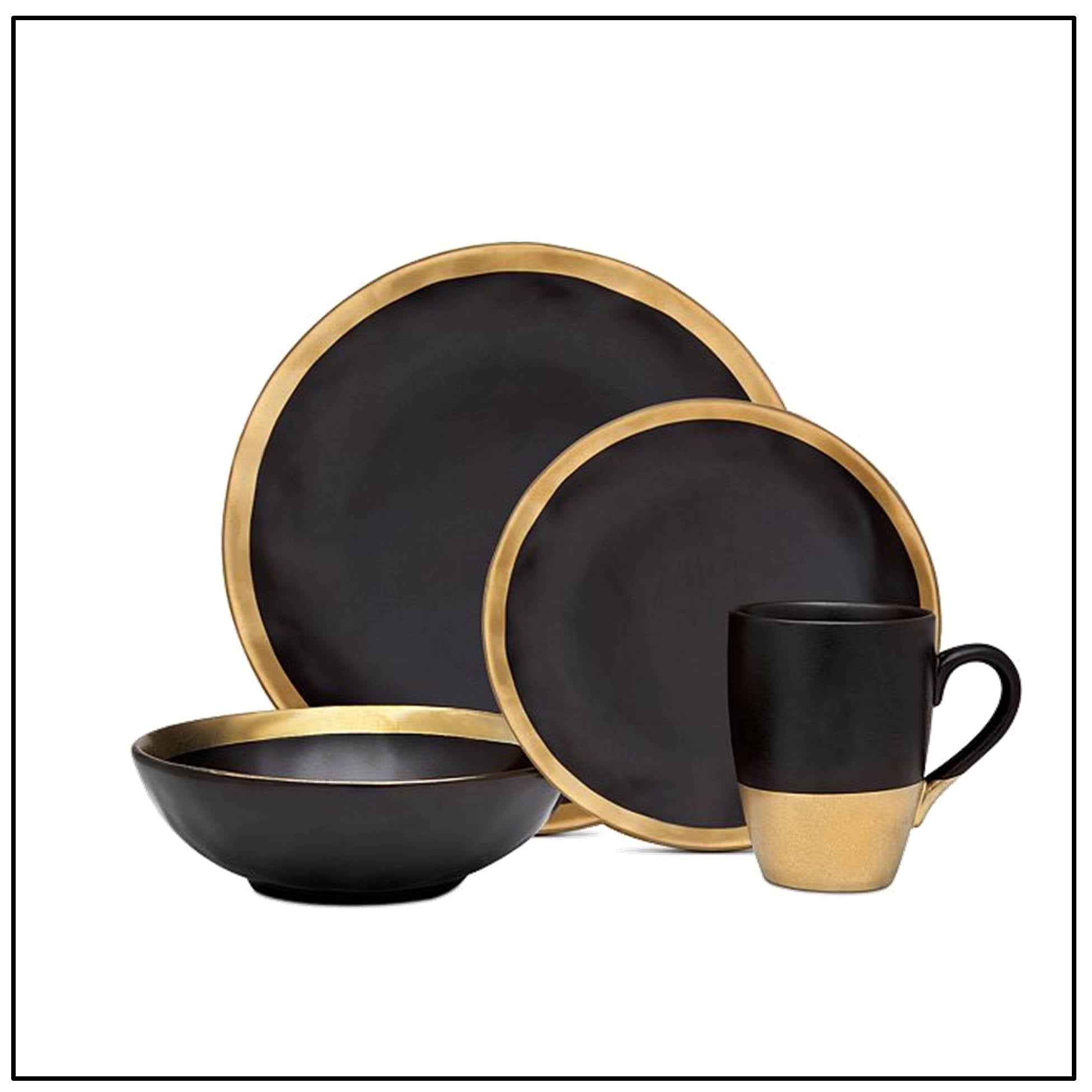 Gatherings Gold/Black 16pc, service for 4