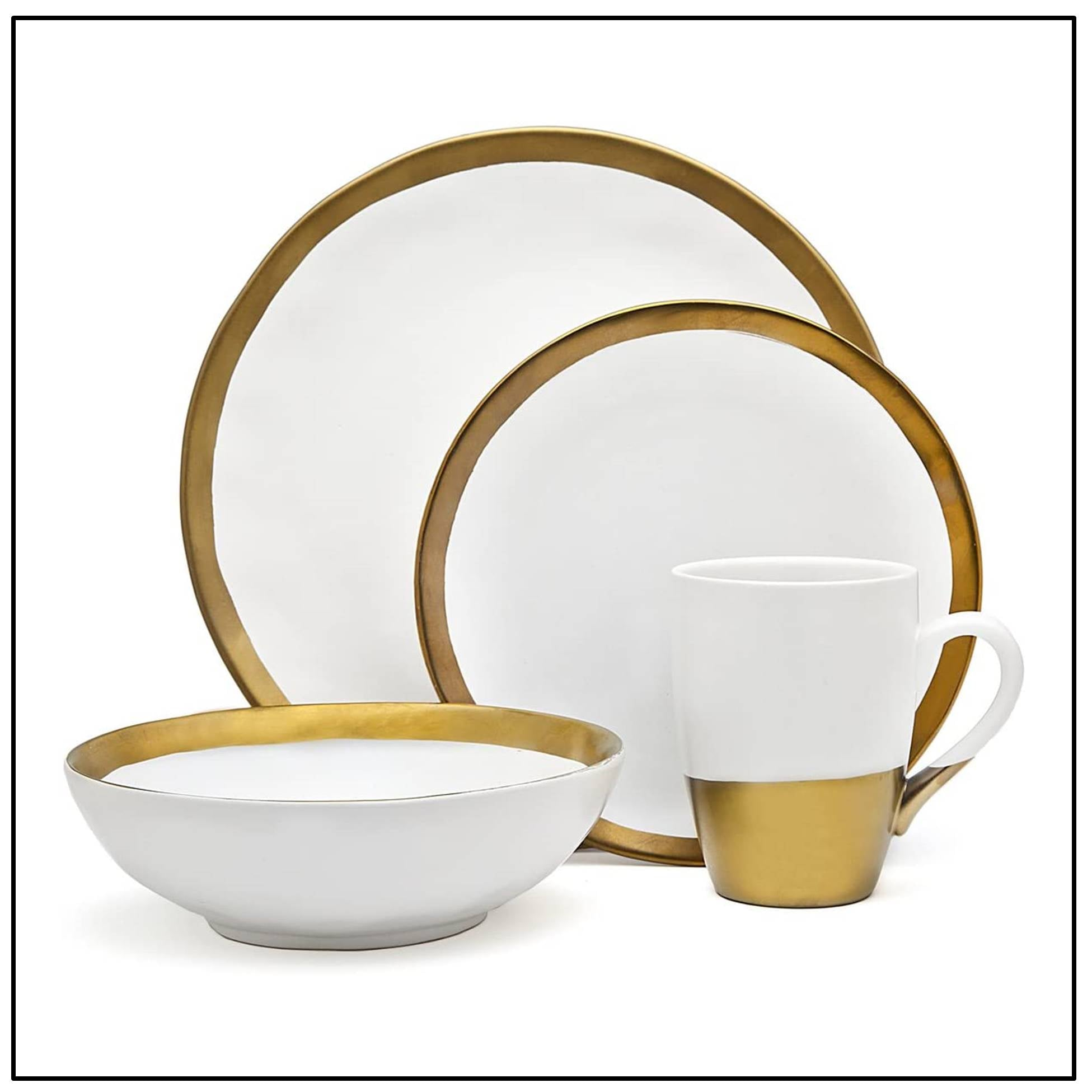 Gatherings Gold/White 16pc, service for 4