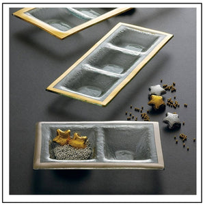Antique 3 Section Tray, gold trim