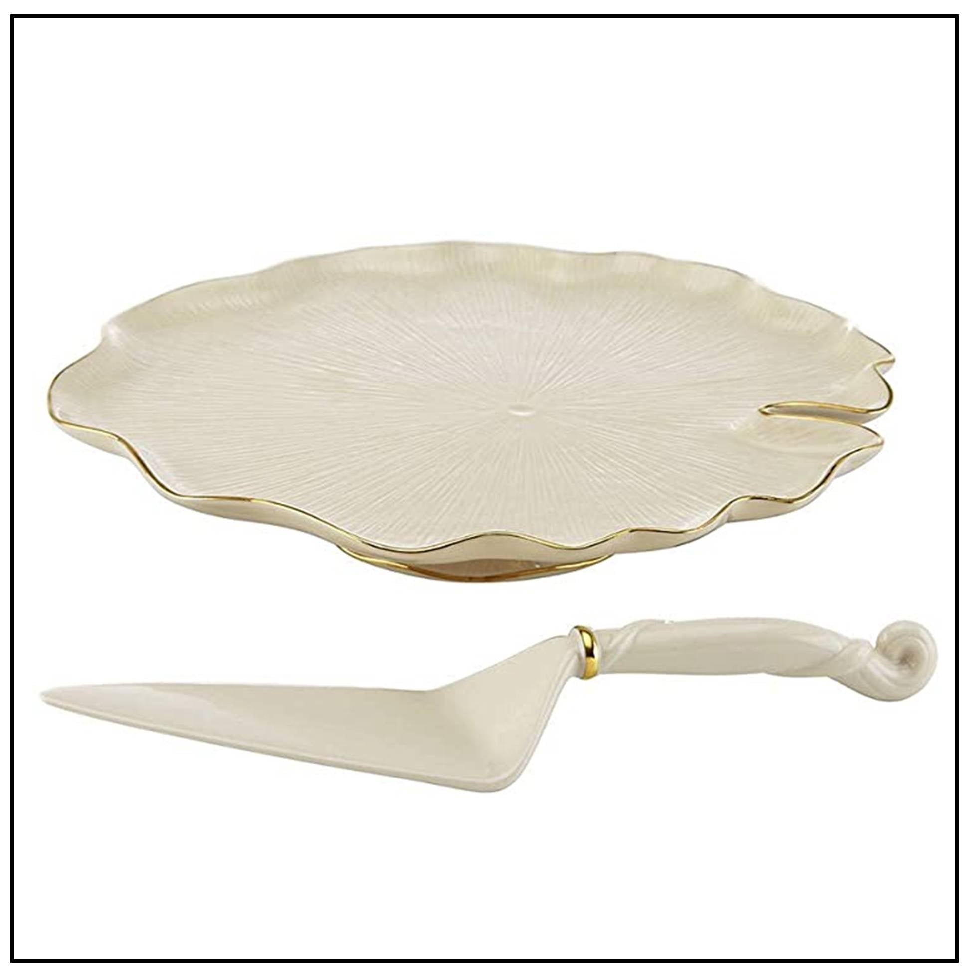 Eternal Leaf Cake Stand with Server