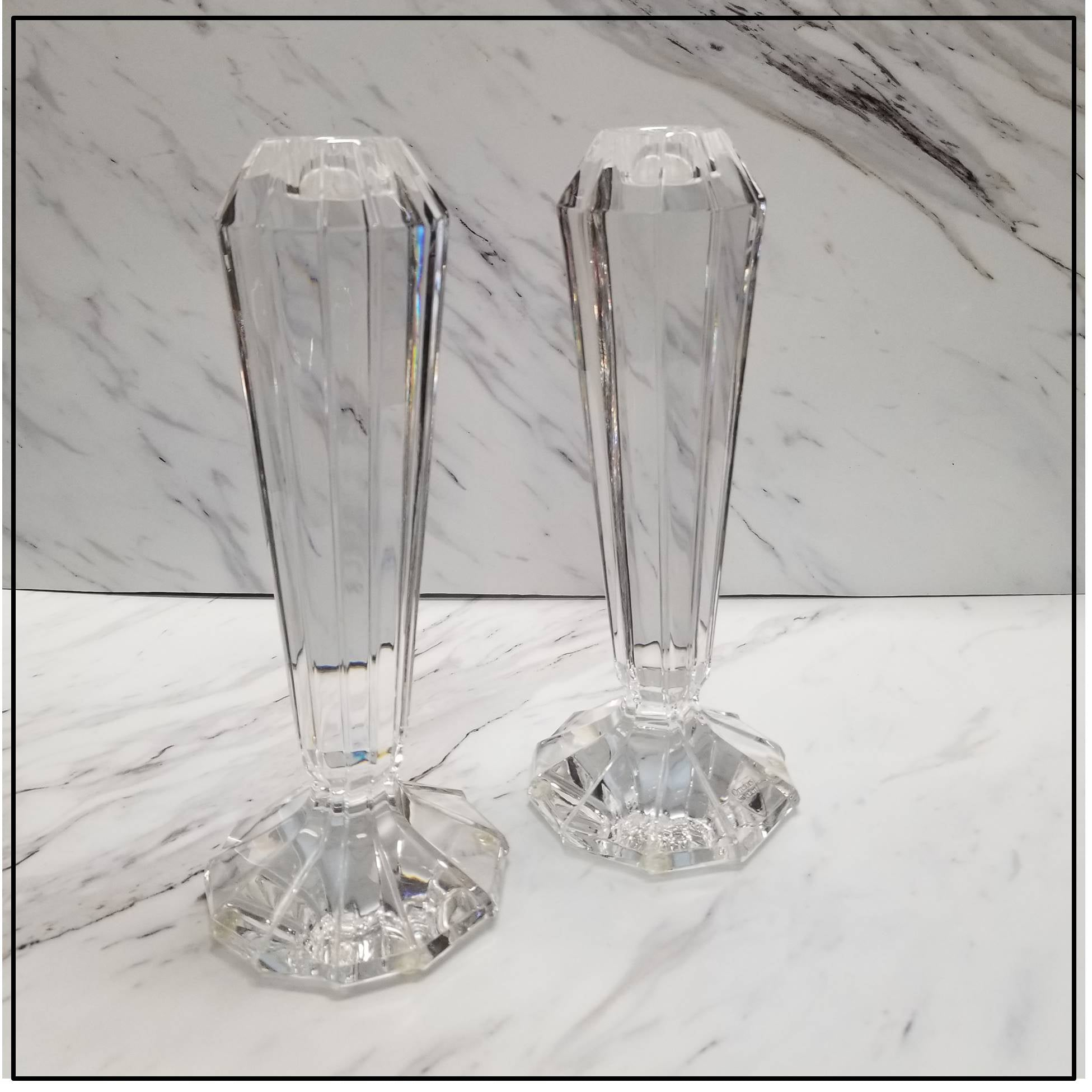 Crystal Candle Holders Pair