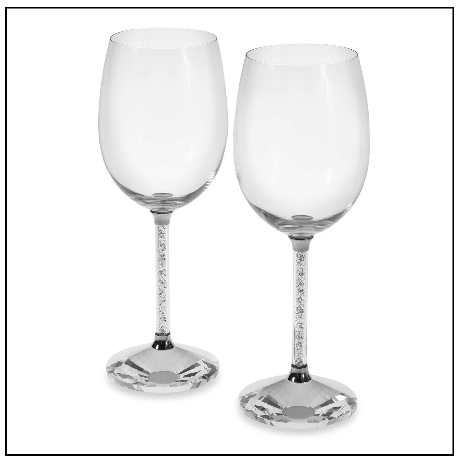 Goblet Pair with Crystal Cut Stem