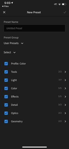 saving a lightroom preset on android