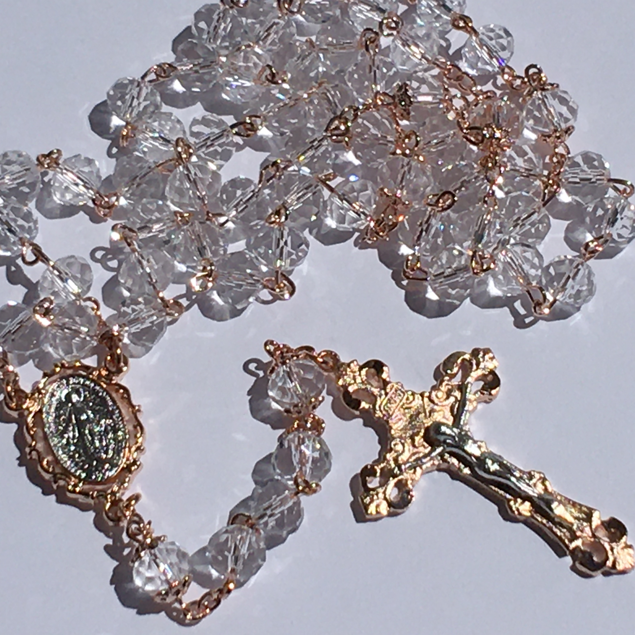 Rose Gold and Crystal Rosary