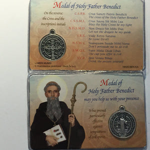 Benedict card & medal