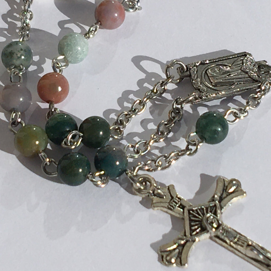 Indian Agate Auto Rosary
