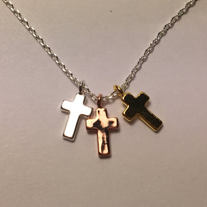 Tri-Medal Cross Necklace