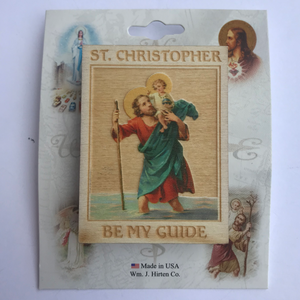 Wooden St. Christopher Visor Clip