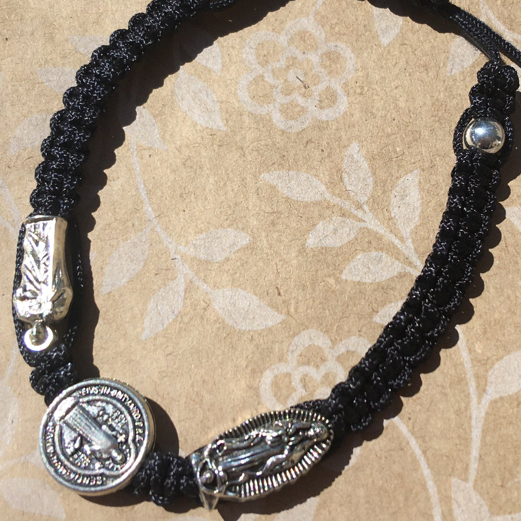 Cord Bracelet with Guadalupe-Jude-Benedict